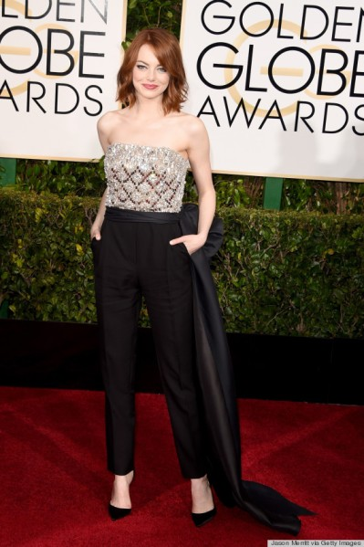 Emma Stone, rocking a jumpsuit at the Golden Globes. Jordan Strauss/Invision, via Associated Press
